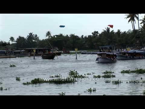 Participants compete in the Kerala Boat Race