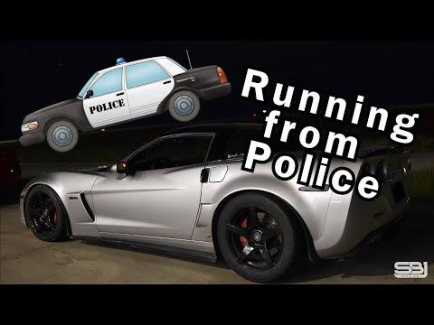 Corvette RUNS from COPS after STREET RACE