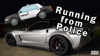 Corvette RUNS from COPS after STREET RACE