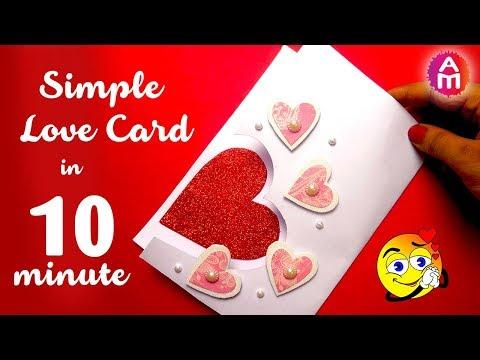 How to make romantic love card in 10 minutes | Handmade love card making |  Artsy Madhu