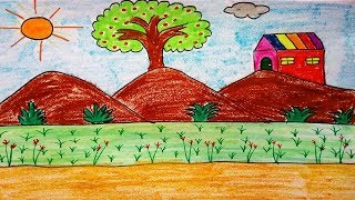 How to draw a landscape scenery with mountains tree and house for kids