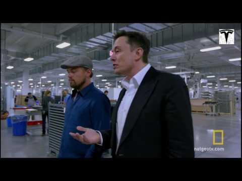 Leonardo DiCaprio and Elon Musk in Gigafactory 2016-10-27