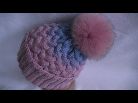 Knitting a gradient hat with a pattern 'a braid of 9 stitches'