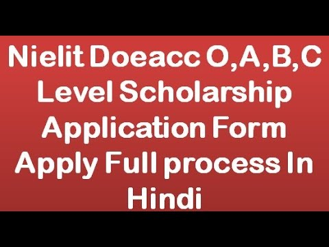 Nielit Doeacc O,A,B,C Level Scholarship Application Form Apply