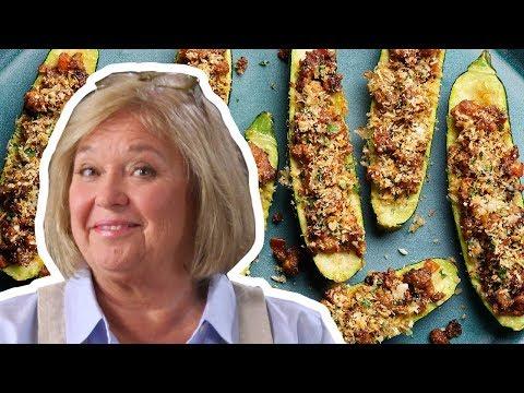 nancy-fuller-makes-sausage-stuffed-zucchini-boats-|-food-network