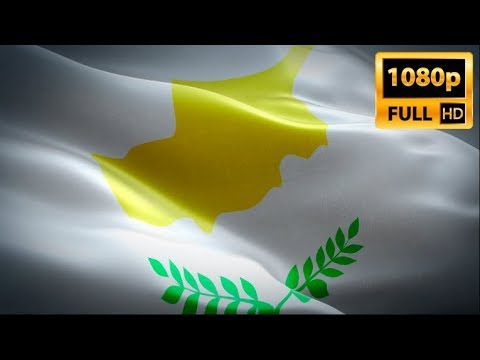 Cyprus flag video waving in wind. Realistic Cypriot Flag background