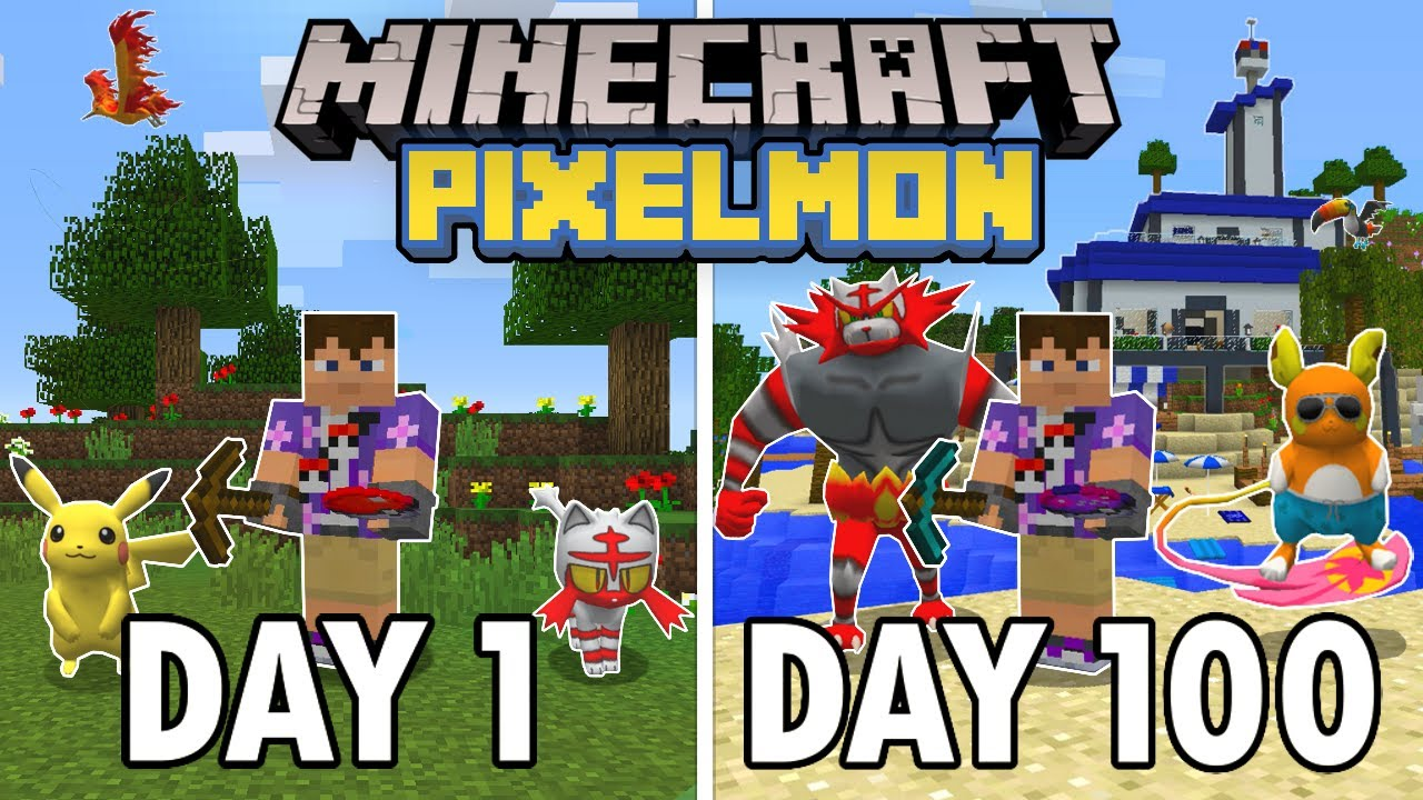 I Spent 100 Days on an ISLAND in Minecraft Pixelmon… This is What Happened | Pokémon in Minecraft