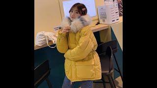 Женская зимняя куртка парка с капюшоном и большим воротником из искусственного меха осенняя