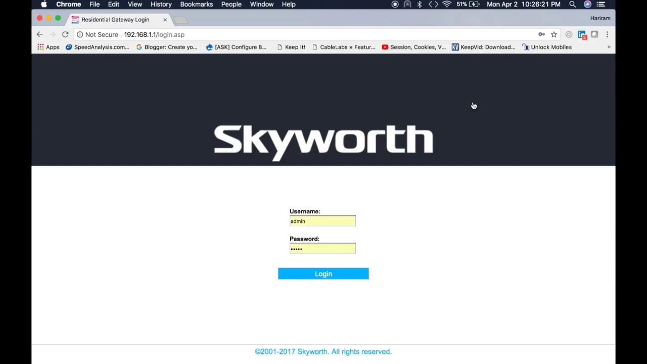 How to setup Skyworth Cable Modem