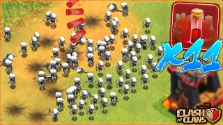 x11 MASS SKELETON SPELL ONLY ATTACK 3 STAR?! Clash Of Clans - CRAZY SPELL ONLY ATTACK! WILL IT WORK?