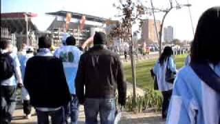 Ingresando al estadio Ellis Park en Johannesburgo