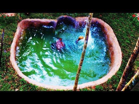 Build Beautiful Natural Pool The front In house in forest
