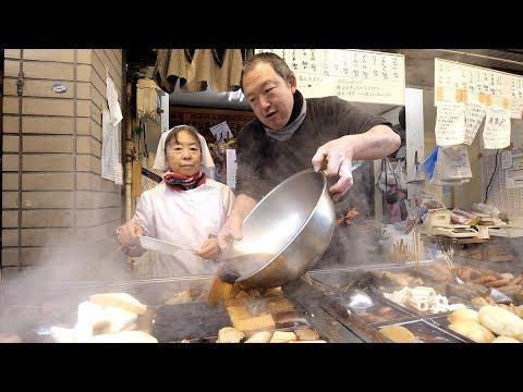 AUTHENTIC Japanese STREET FOOD Tour of Sunamachi - Tempura, Oden, Yakitori, Sake   Tokyo, Japan Travel Guide Videos