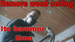 HOW TO REMOVE WOODEN CEILING WOOD CEILING WOODEN ROOF TIMBER CEILING TONGUE AND GROOVE