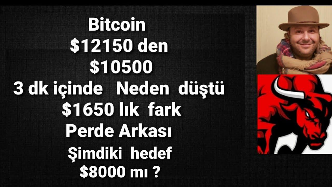 Bitcoin de düşüş başladı mı?yeni hedef  $8000 mı? Bitcoin neden 5 dk da $1650  düştü? #Bitcoin #ETH
