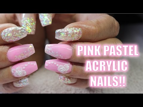 ACRYLIC NAILS PASTEL PINK COFFIN SHAPE