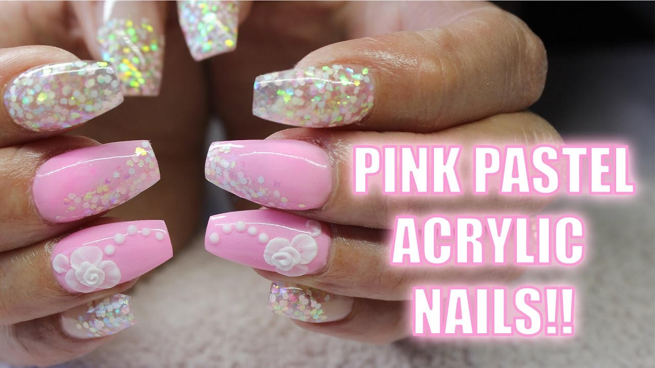 ACRYLIC NAILS | PASTEL PINK COFFIN SHAPE | GLITTER CONFETTI | 3D ...