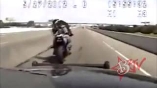 Police CHASE Motorcycle Bike VS Cop Actual Dash Cam Video Motorbike Brake Checks Cops Gets Away