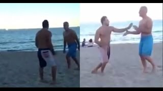Old guy knocks out young punk on the beach