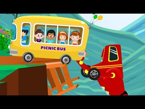 Kids Picnic Bus Peril Rescued by Red Super Car - Cartoons For Kids Song