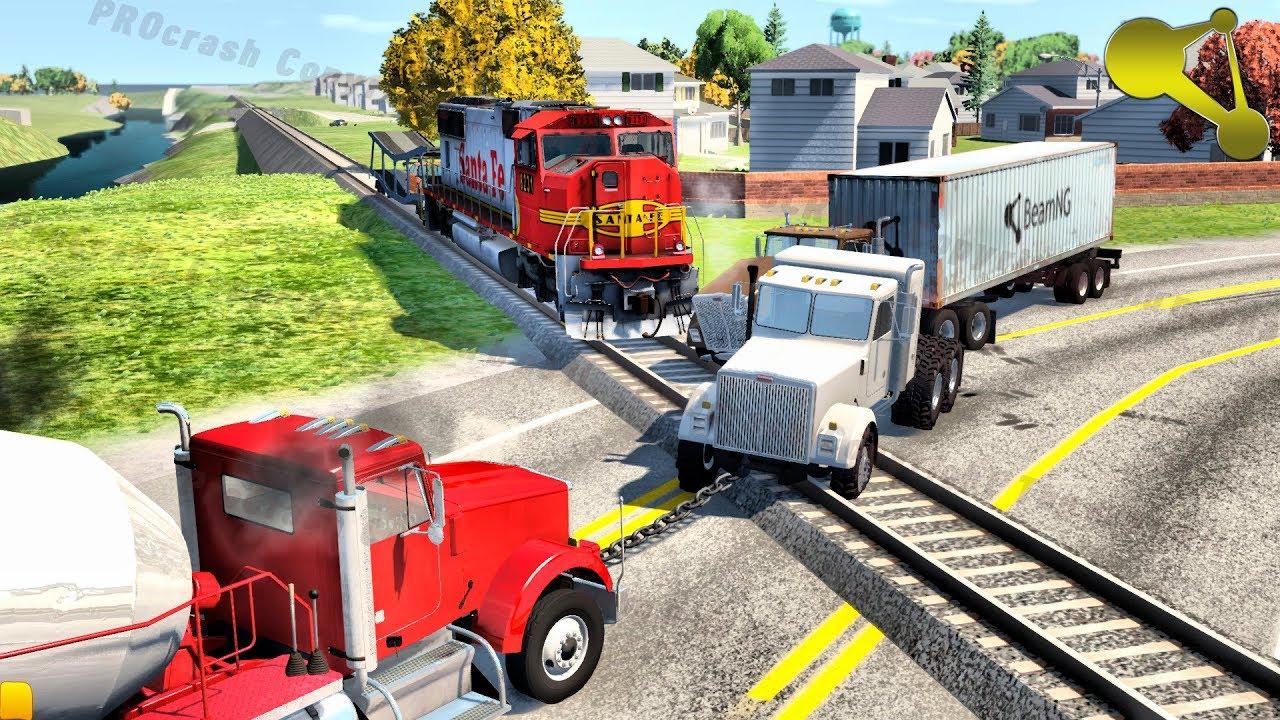 Stuck at rails (train railroad crossing crashes) BeamNG Drive