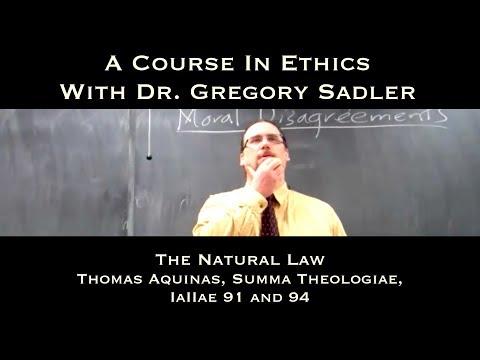 The Natural Law (Thomas Aquinas, Summa Theologiae, IaIIae, q. 91 and 94) - A Course In Ethics