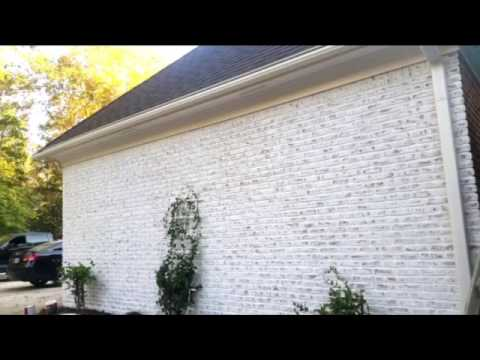 Doing a white wash in brick house - YouTube