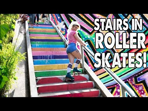 HOW TO GO UP AND DOWN STAIRS IN ROLLER SKATES! - Planet Roller Skate Ep. 6