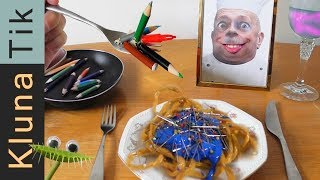 Eating NOODLES with PAINT & NEEDLES |#46 KLUNATIK COMPILATION    ASMR eating sounds no talk