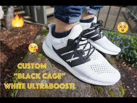Custom White Ultraboost!!! black caged boost tutorial + On Feet
