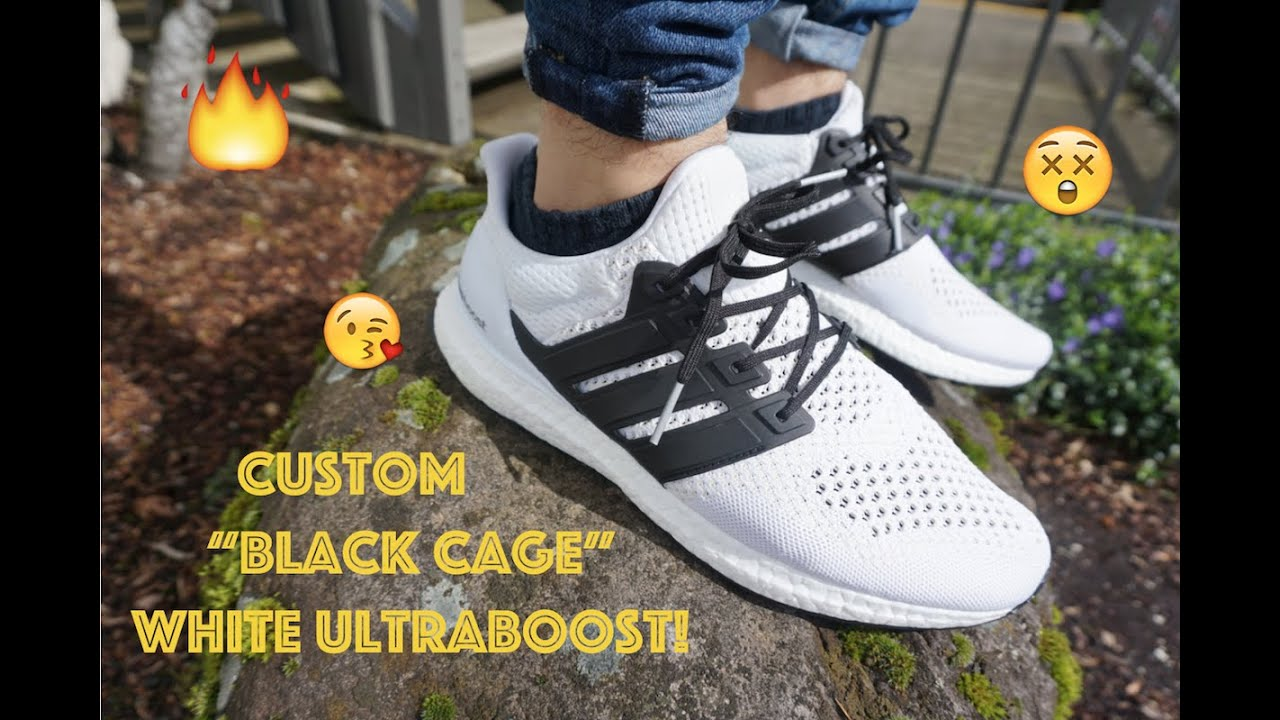 b9360ff3597 Custom White Ultraboost!!! black caged boost tutorial + On Feet ...