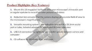 Swiftcam 18 Megapixel Camera Microscopes, Reduction Lens, Calibration Kit, Ey... [Price in Pakistan]