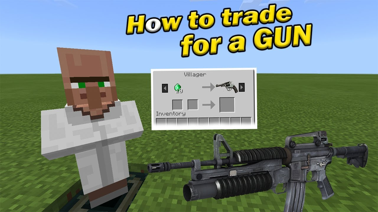 HOW TO TRADE FOR A GUN  Minecraft PE
