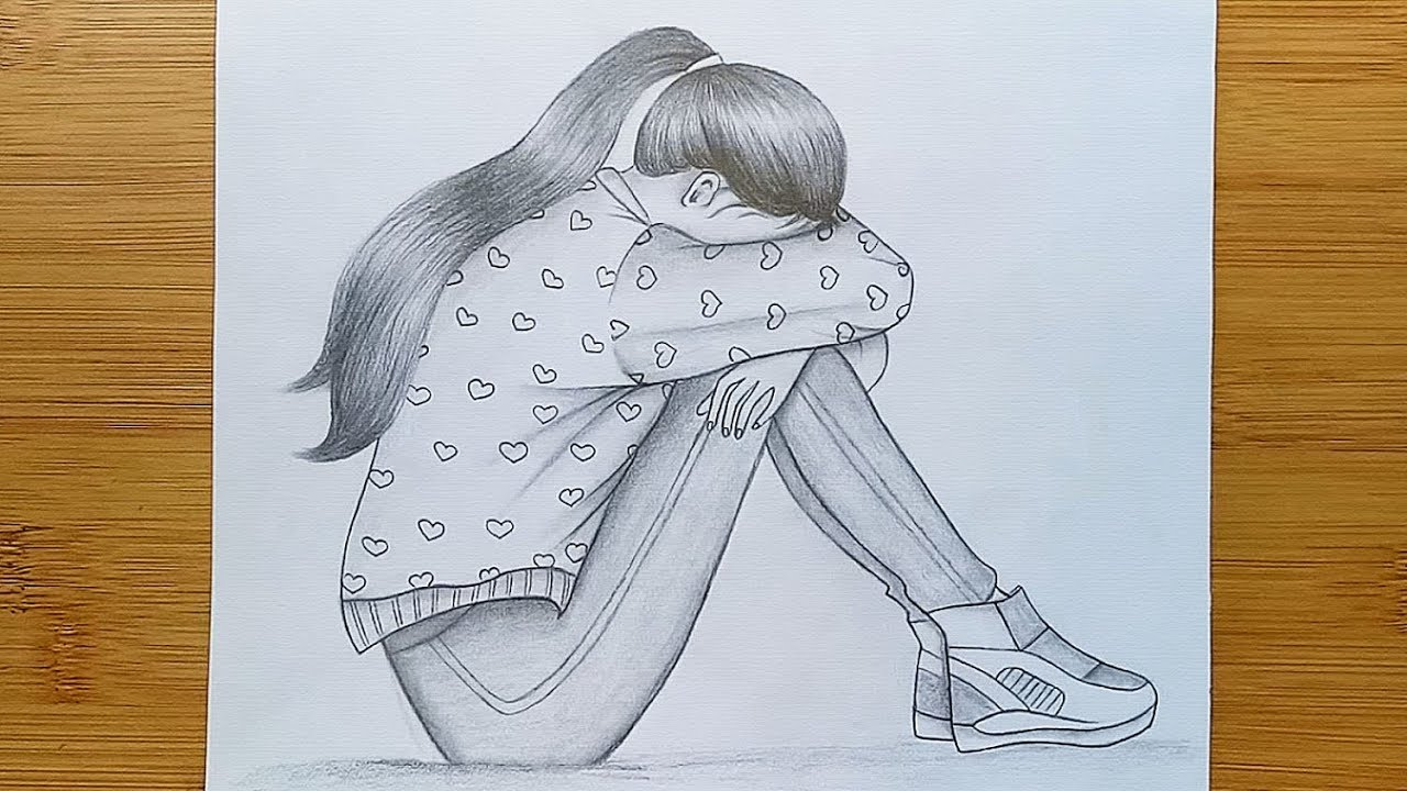 Draw Alone Girl With Pencil Sketch How To Draw A Sad Girl Step By Step Youtube