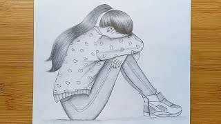 Draw Alone girl with pencil sketch/ How to draw a Sad Girl Step by step