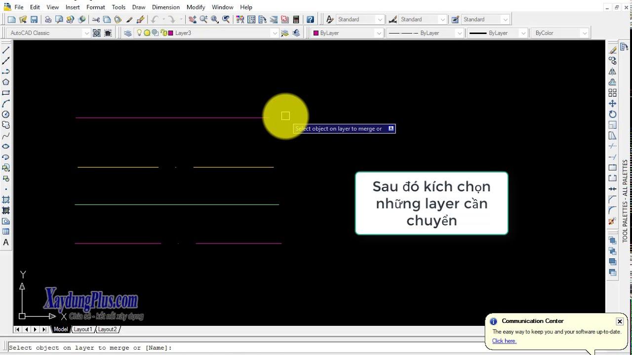 Cách gộp nhiều layer thành một trong AutoCAD