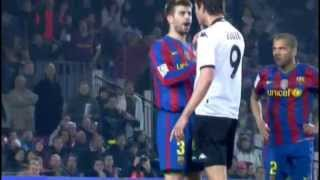 Gerard Pique Defending Dani Alves vs Zigic (Valencia)  La Liga 09-10