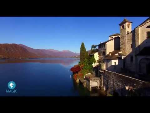 Lago d'Orta - visita il lago a volo di uccello con drone 4k