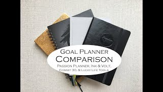 Goal Planner Comparison- { Passion Planner, Ink & Volt, Commit 30, & Lucky Life Tools}