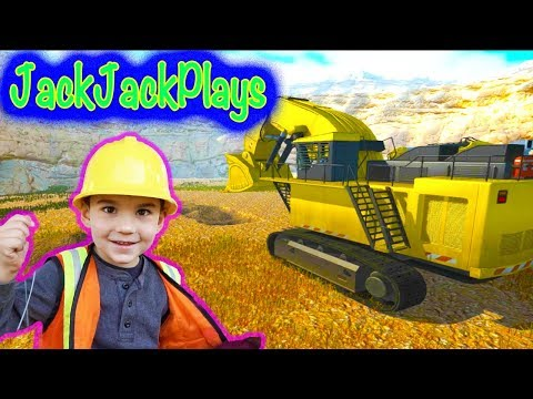 Playing Construction Trucks Game - Giant Excavators, Dump Truck In Dig It!