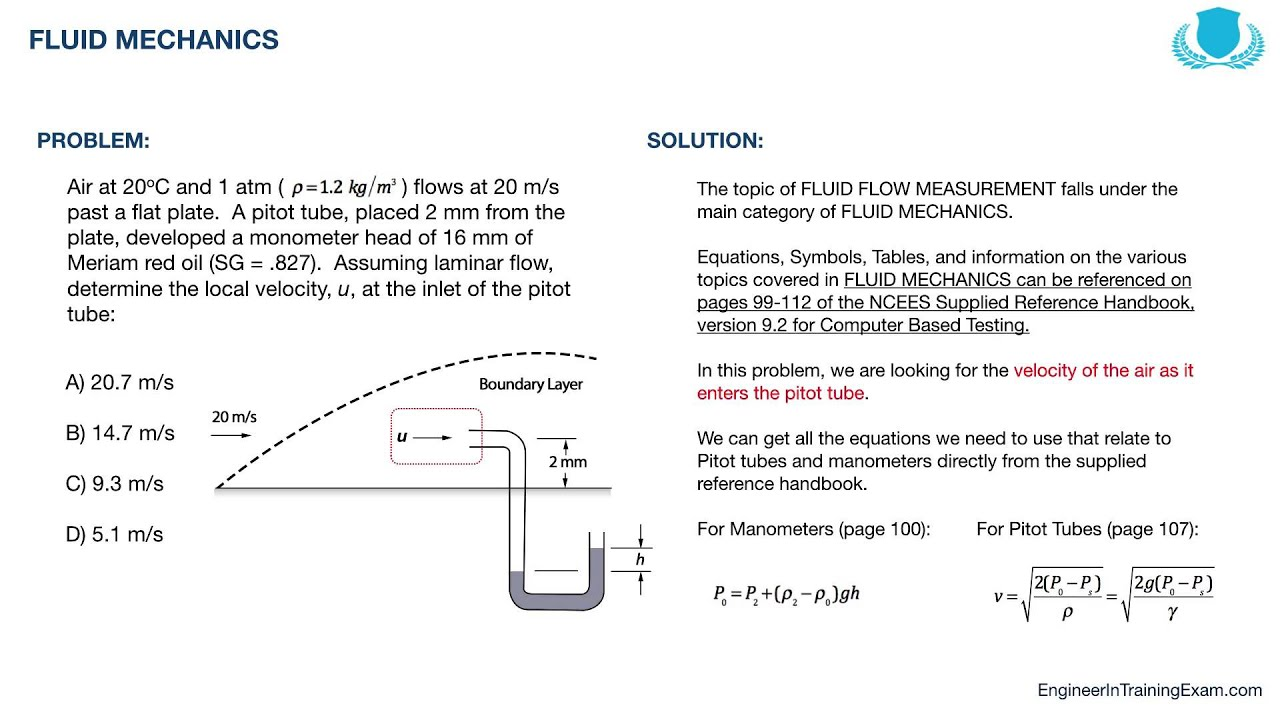 FE Exam Practice Problem - Fluid Mechanics - YouTube