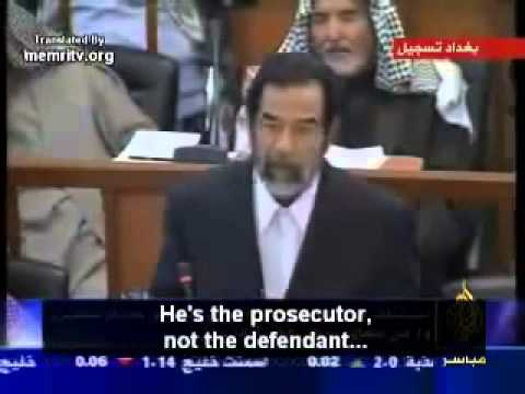 Saddam Hussein before Iraqi Court of Judges