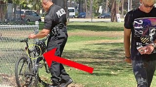 HANDCUFFING COP'S BIKE TO FENCE!!! (NOT A GOOD IDEA!)