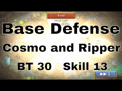 Castle Clash Base Defense With Cosmo And Ripper At BT 30 And Skill 13