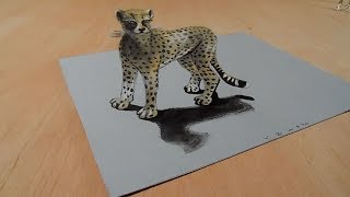 How to Draw 3D Animals - Awesome Cheetah Illusion - Vamos