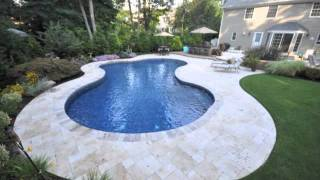 Italian Travertine | Patio Installation | Double Logon Pool | Hanover Walls Long Island Gappsi