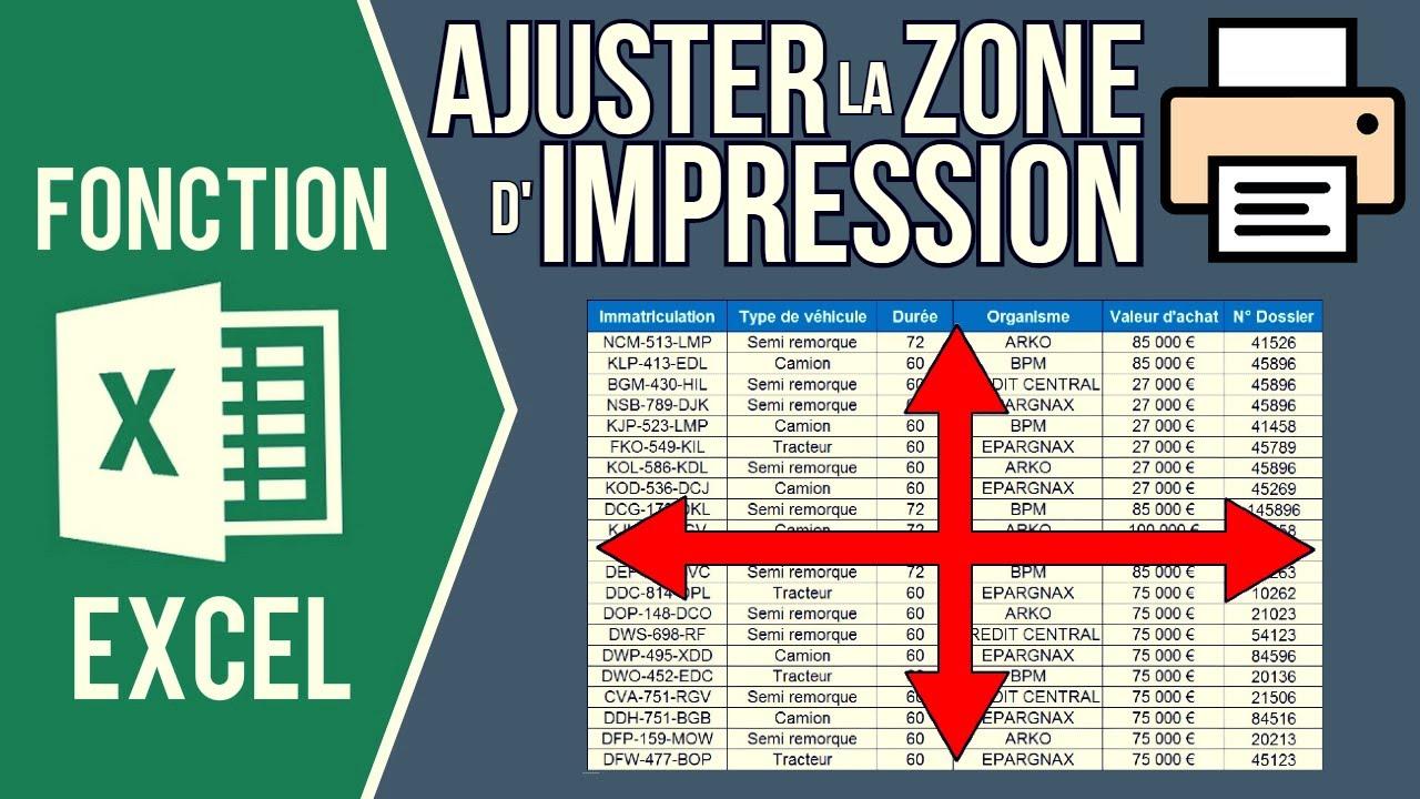 EXCEL - AJUSTER LA ZONE D'IMPRESSION D'UN FICHIER (Centrer le contenu, mettre à l'échelle, marges..)