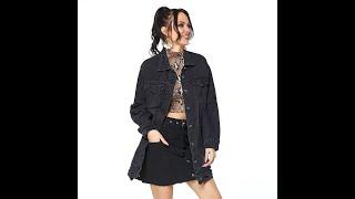 Осень 2021 женская мода средней длины рваная черная джинсовая куртка винтажная бойфренда размера