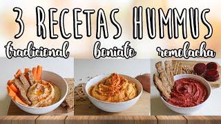 3 RECETAS HUMMUS 😋Hummus tradicional, hummus boniato🍠 hummus remolacha 🍆