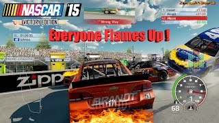 Nascar'15 The Game Victory Edition Everyone's Car Flames Up Crash Compilation